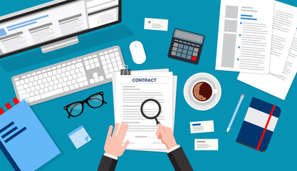 Contract reading top view, business concept illustration. Flat style vector illustration