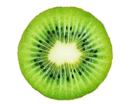 Slice of kiwi fruit isolated on white background.