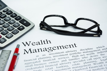 wealth management text of business concept background Fototapete