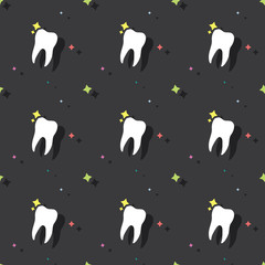 Dentist Molar Tooth Seamless Colored Pattern Background