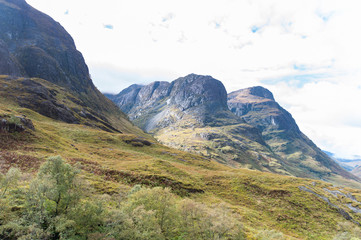 Spectacular mountains with valleys in fall season at Glencoe, Scotland.