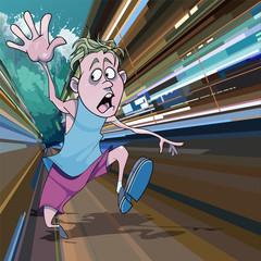 cartoon man running away in fear from the giant tsunami waves