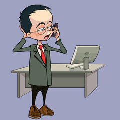 cartoon man talking on the phone standing next to a table with a computer