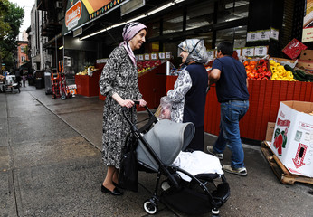 People from the Satmar Hasidic Jewish community are seen in the Brooklyn borough of New York City