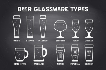 Beer glassware types. Poster or banner with different types of glass and mug for beer. Chalk graphic design on chalkboard. Poster for menu, bar, pub, restaurant, beer theme. Vector Illustration