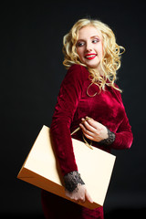girl in a burgundy dress