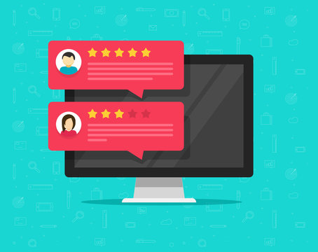 Customer review rating messages on computer and vector, flat cartoon of desktop pc display and online reviews or client testimonials, experience or feedback, rating stars, survey comments