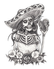 Art Design Women Skull Day of the dead. Hand pencil drawing on paper.