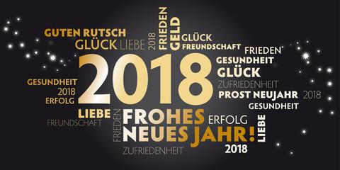 Neujahrsgrüße 2018 mit schwarzem Hintergrund und goldener Schrift - gute wünsche für das neue Jahr