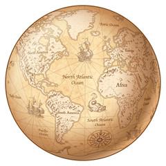 Fototapete - Vector Globe Vintage World Map