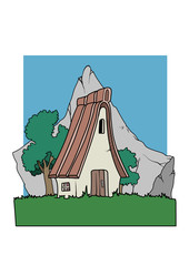 An alpine country house in front of a mountain. Vector Illustration