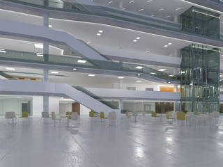 Public interior atrium. 3D render.