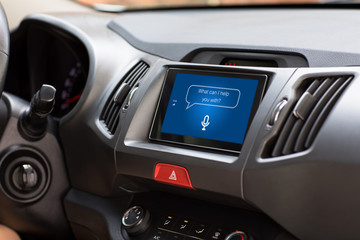 multimedia system with app personal assistant on screen in car