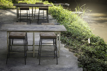 Weathered old outdoors table and chairs set