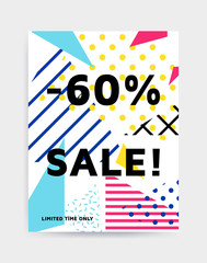 Bright colorful vector illustration eye catching poster template