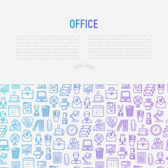 Office concept with thin line icons of manager, coffee machine, chair, career growth, e-mail, folders, watercooler, lamp. Vector illustration for banner, web page, print media.