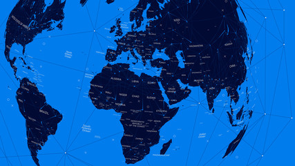 Blue political map of the world, vector flat illustration