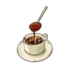 Hand drawn a cup of hot liquid chocolate, vector illustration isolated on white background