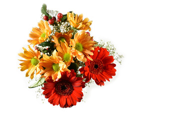 Colorful bouquet stock images. Beautiful flower photo. Mixture of flowers. Autumn bouquet photo. Colorful bouquet on a white background. Red gerbera daisy