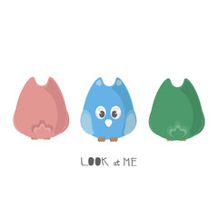 Cute colorful cartoon owls with front and back view. Handwritten phase LOOK AT ME.
