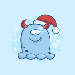 Vector color illustration of cartoon one eyed monster in santa claus hat on snowy background. Object image to create original web games or Christmas card