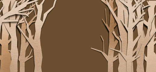 tree shape papercut style on brown background with free copysapce for your text