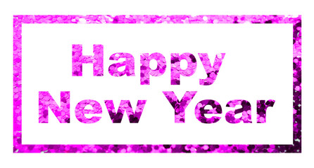 Happy New Year creative text in frame on magenta glitter textured background, isolated on white. Long horizontal banner