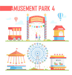 Set of amusement park elements - modern vector illustration