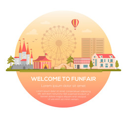 Welcome to funfair - modern vector illustration