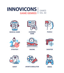 Game genres - line design icons set
