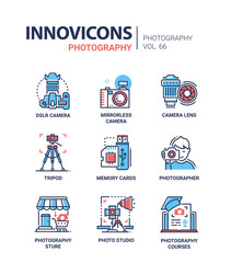 Photography - line design icons set