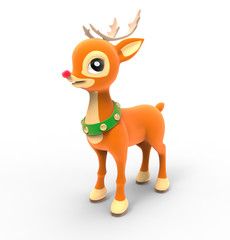 Deer Rudolph. 3D image isolated on white