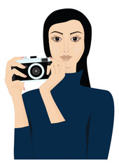 Young pretty girl with camera - isolated on white background - art creative vector
