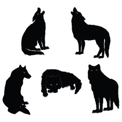 set - a flock of wolves - sketch - isolated on a white background -art creative vector