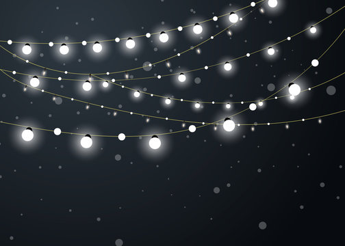 Christmas background with xmas lights. Vector glowing garland isolated on red background with shine particles.