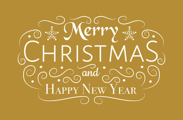 Merry Christmas - text with decoration. Vector.
