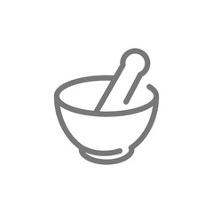 Simple chemical vessel, mortar, pestle, pistil, pounder line icon. Symbol and sign vector illustration design. Isolated on white background