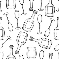 Seamless pattern from the hand drawn champagner bottles and glases.