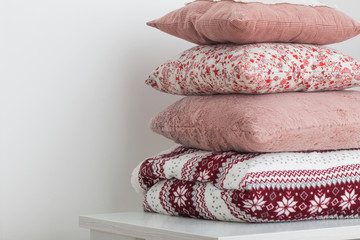 pillows on background white wall