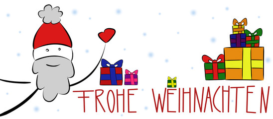 Frohe Weihnachten mit winkendem Nikolaus und Geschenken