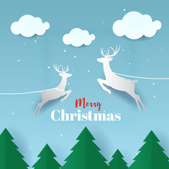 Merry christmas and Happy New Year greeting card typography flyer template with lettering. Poster, card, label, banner and reindeer design. Vector illustration