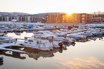 Winter view of a marina in Trondheim Grilstad