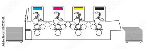 Terrific Outline Vector Illustration Of Printing Machine Diagram Offset Wiring Digital Resources Attrlexorcompassionincorg