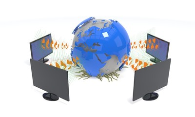 Computer connection concept in the world, 3d rendering