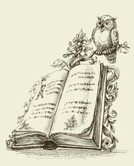 Open book vintage stand and cute owl symbol of wisdom