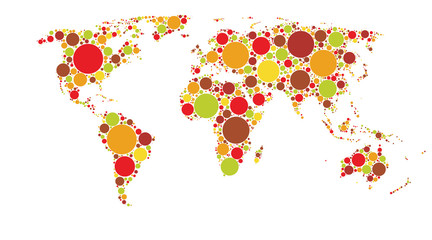World map of colored circles, multicolor pattern, well organized layers