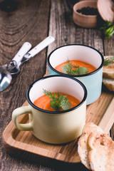 Butternut squash soup in ceramic mug