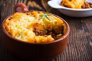 Photo sur cadre textile Plat cuisine Shepherd's pie, traditional British dish