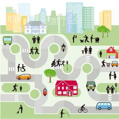 Stadt mit Fußgänger und Verkehr