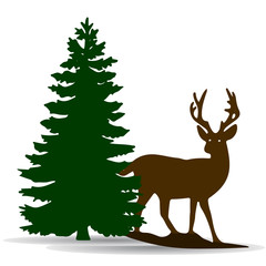 Silhouette of a green fir-tree and deer, on white background,